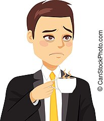 Businessman Sleepy Drinking Coffee
