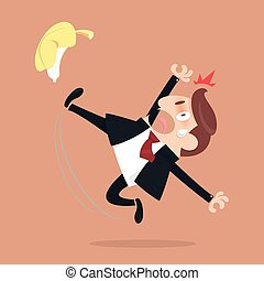 Businessman slipping and falling from a banana peel
