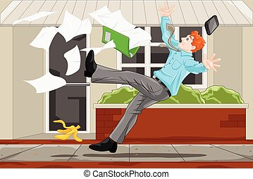 A vector illustration of the concept of a businessman slipped on a banana skin