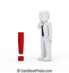 businessman small red exclamation mark