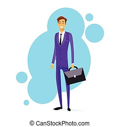 Businessman Smile Hold Briefcase Full Length Flat -...