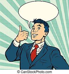businessman smile thumb up like gesture
