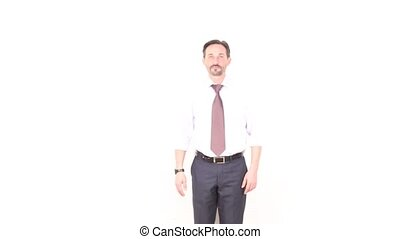 Businessman smiling and giving hand - Happy bearded...