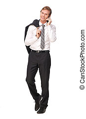 Businessman Smling and Talking on the Phone