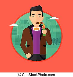 Businessman smoking cigar.