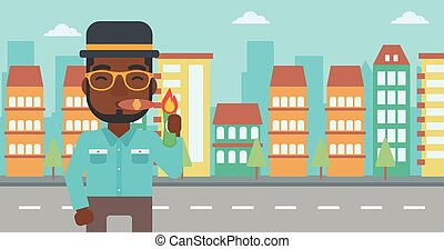 Businessman smoking cigar vector illustration.