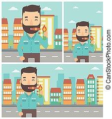 Businessman smoking cigar vector illustration.