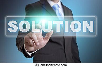 Businessman solution concept - Businessman using digital...