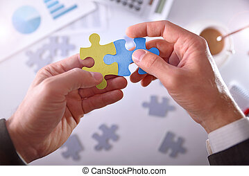 Businessman solving a problem. Concept development and business success