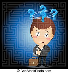 businessman solving the solution of labyrinth