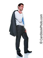 businessman souprava, pinstripe, šedivý, osamocený