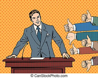 Businessman speaker business concept like dislike hands. Good or bad speech. The response from the audience