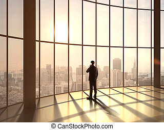 businessman speaking at sunset office