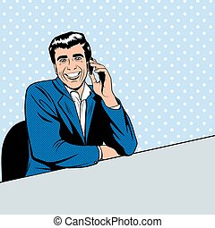 Businessman speaking by phone in the pop art comics style.