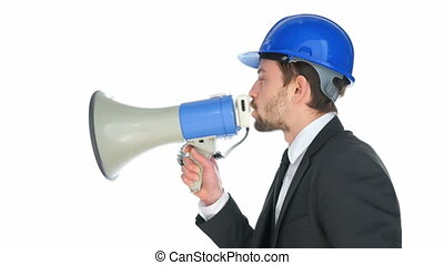 Businessman speaking into a megaphone
