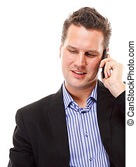 businessman speaking on his mobile isolated