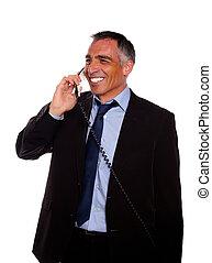 Businessman speaking on phone