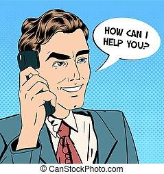 Businessman Speaking on the Phone. Online Support. Pop Art. Vector illustration