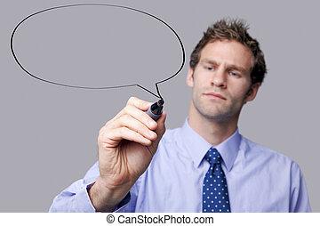 Businessman speech bubble - Businessman drawing a speech...