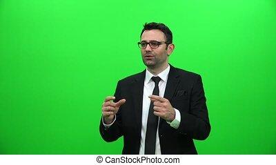 Businessman Speech on Green Screen