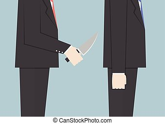 Businessman stabbing his friend in the back, VECTOR, EPS10
