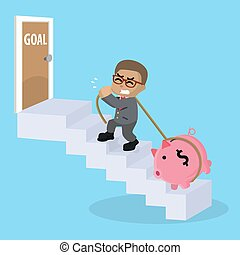 businessman stairs to goal with piggy bank