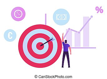 Businessman Stand at Huge Target with Arrow in Center Pointing on Dollar Icon near Growing Data Chart. Wealth, Roi, Return on Investment and Money Refund Concept. Cartoon Flat Vector Illustration
