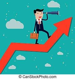 Businessman stand on arrow graph