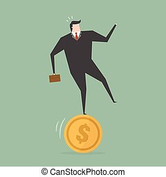 Businessman Stand On Coin