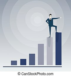 Businessman Stand On Financial Bar Graph Top Successful Business Man Growth