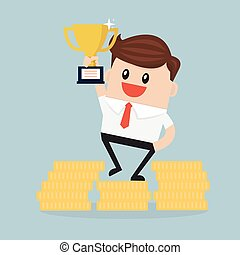 businessman stand on money coin and hold a prize. Vector EPS10.