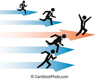 businessman Stand Out From The Crowd - The running...