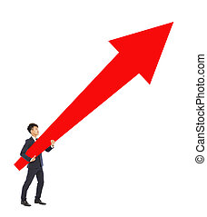 businessman standing and holding a upward red arrow