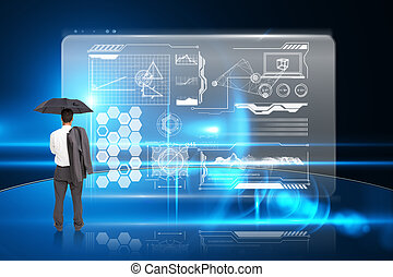 Businessman standing back to camera holding umbrella and jacket on shoulder against business interface