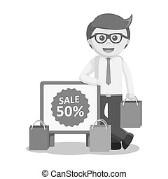 businessman standing beside discount sign black and white color style