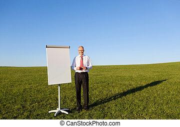 Businessman Standing By Blank Flipchart, Outdoor