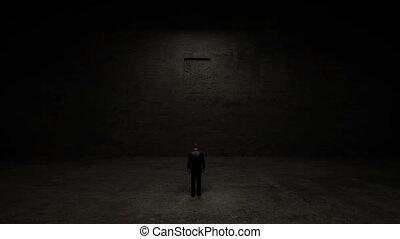 Businessman standing front of door