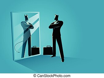 Businessman standing in front of a mirror, reflecting a devil