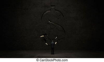 businessman standing in front of black wall, shape of a Dollar sign.Dollar currency.Dollar money.