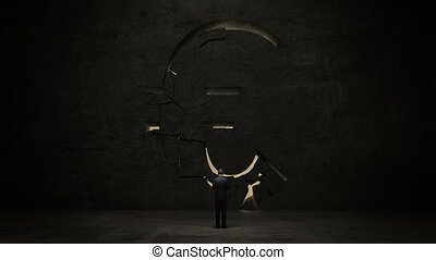 businessman standing in front of black wall, shape of a Euro sign.Euro currency.Euro money.