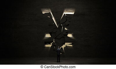 businessman standing in front of black wall, shape of a Yen sign.Yen currency. graph.
