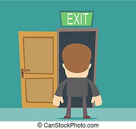 businessman standing in front of closed doors