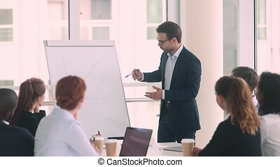 Businessman standing in front of colleagues presenting...