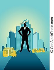Businessman standing in front of commercial buildings and...