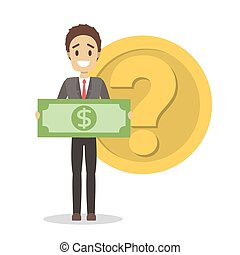 Businessman standing in front of golden coin