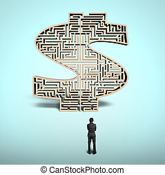 Businessman standing in front of money shape maze