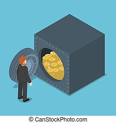 Businessman Standing in front of Safe Full of Money