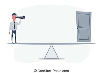 Businessman standing in front of the exit. Businessman looking in future on seesaw. Man using telescope looking for success, opportunities, future business trends.