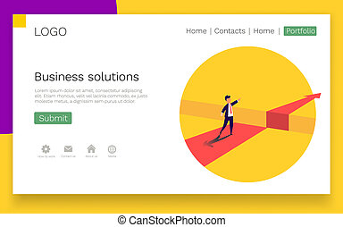 Businessman standing in front of the obstacle, gap on the way to success. Business solutions. Web Page template.
