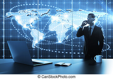 global business map - businessman standing in office with...